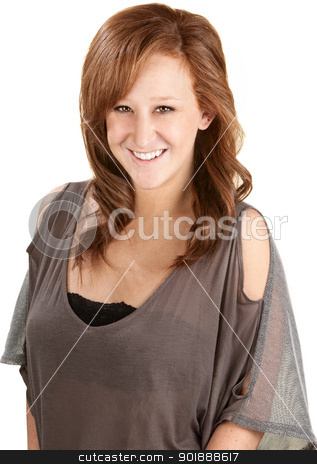 Gorgeous Woman Smiling stock photo, Gorgeous smiling young female over white background by Scott Griessel