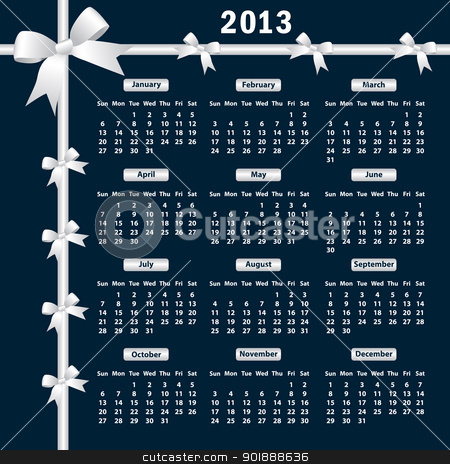 2013 Calendar with bows stock vector clipart, Calendar 2013 year with white bows on a dark background. by toots77