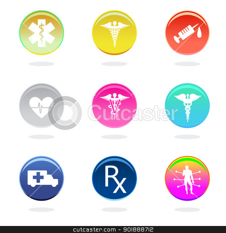 Medical icons stock vector clipart, Medical icons in color circles on white background. by lkeskinen
