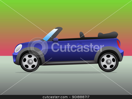 Small sports car convertible with color background stock vector clipart, Small sports car convertible with color background by lkeskinen