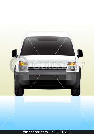 Delivery van small front view stock vector clipart, Delivery van small. Front view, vector illustration. by lkeskinen
