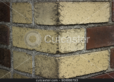 Brick Corner Texture83 stock photo, A red and white corner brick texture background. by Jadthree