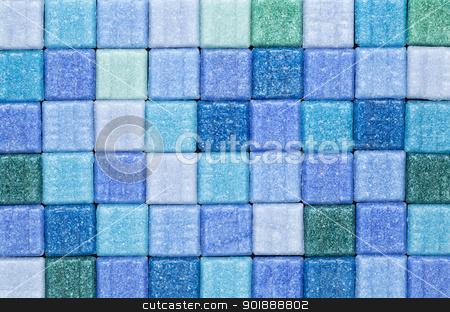 blue and green mosaic tiles stock photo, background of blue and green glass mosaic tiles by Marek Uliasz