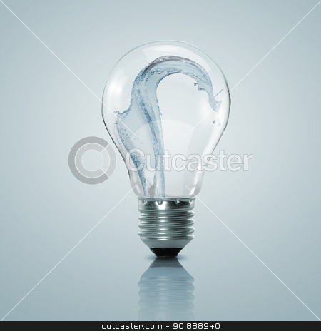 Electric light bulb with clean water stock photo, Electric light bulb with clean water inside it by Sergey Nivens