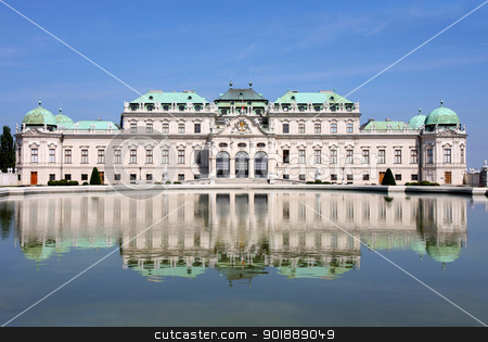 Baroque castle Belvedere, Vienna, Austria stock photo, Baroque castle Belvedere with small lake, Vienna, Austria by vladacanon1