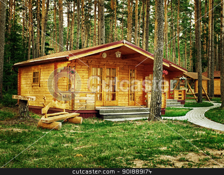 cottages stock photo, Wooden cottages with flowers in the pine forest  by Sergej Razvodovskij
