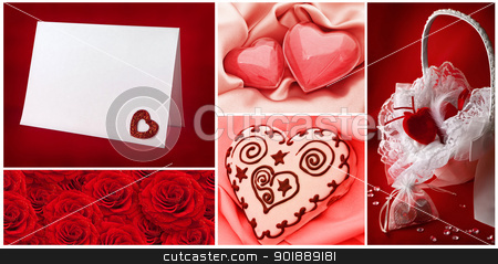 Valentine`s day collection stock photo, Valentine`s day greetings backgrounds collection with hearts by Sergej Razvodovskij