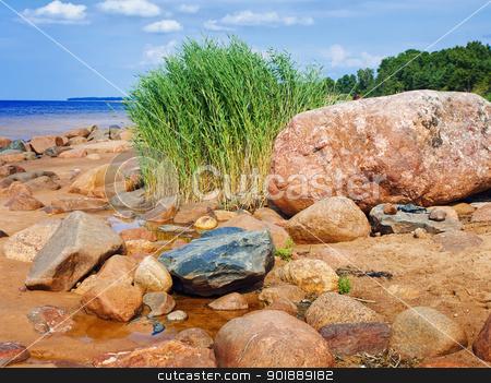 Sea rocky beach stock photo, Sea rocky beach in sunny day, blue cloudy sky  by Sergej Razvodovskij