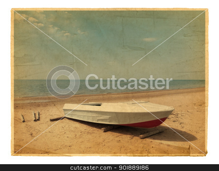 Old photo of Sea boat at beach  stock photo, Old photo of Sea boat at beach over white by Sergej Razvodovskij