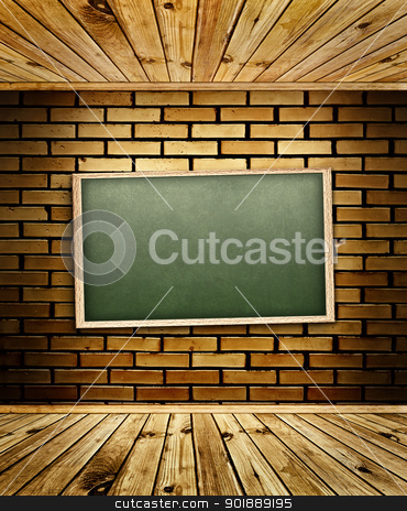 blackboard stock photo, school blackboard at brick wall by Sergej Razvodovskij