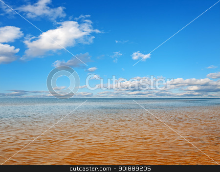 sea horizon stock photo, sea horizon, blue cloudy sky  by Sergej Razvodovskij