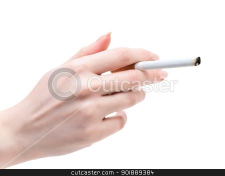 cigarette in hand stock photo, cigarette in the woman hand over the white backgroubd by Sergej Razvodovskij