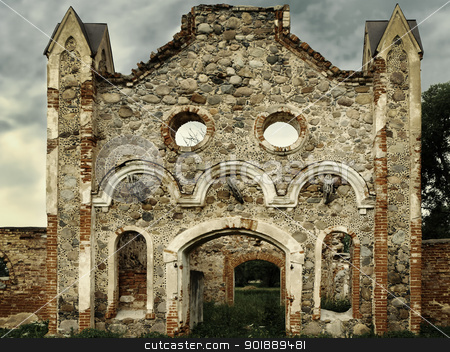 Castle ruins stock photo, Stone ruins of the old castle by Sergej Razvodovskij
