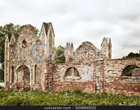 Castle ruins stock photo, Stone ruins of the old castle by Sergej Razvodovskij