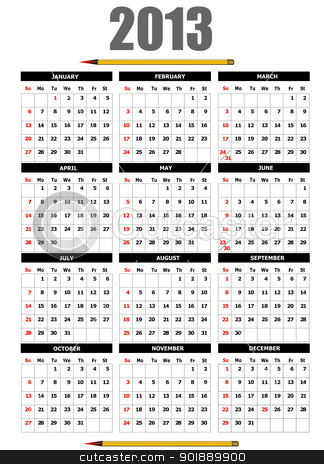 2013 calendar with pencil image. Vector illustration  stock vector clipart, 2013 calendar with pencil image. Vector illustration  by Leonid Dorfman