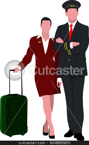 Flight crew. Cheerful pilot and stewardess with trolley, isolate stock vector clipart, Flight crew. Cheerful pilot and stewardess with trolley, isolated over white background. Vector illustration by Leonid Dorfman