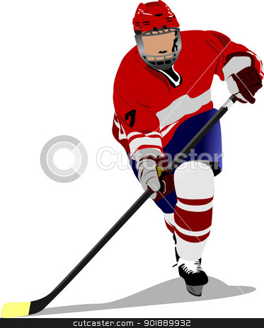 Ice hockey player. Colored Vector illustration for designers stock vector clipart, Ice hockey player. Colored Vector illustration for designers by Leonid Dorfman