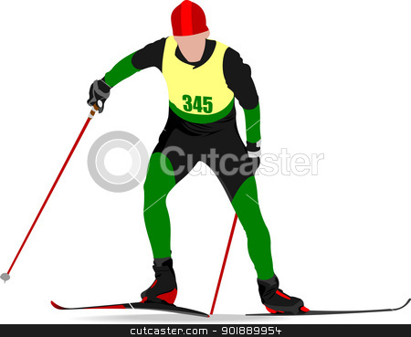 Ski runner colored silhouettes. Vector illustration stock vector clipart, Ski runner colored silhouettes. Vector illustration by Leonid Dorfman