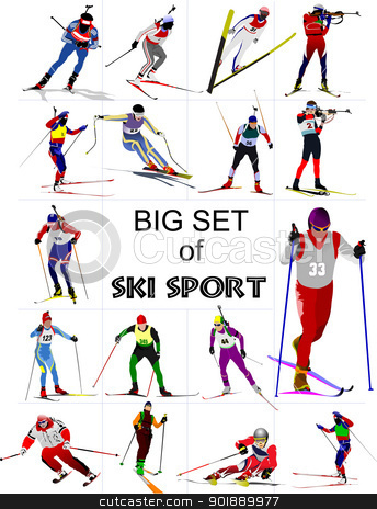 Big set of Ski sport colored silhouettes. Vector illustration stock vector clipart, Big set of Ski sport colored silhouettes. Vector illustration by Leonid Dorfman