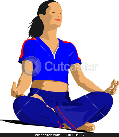 Woman practicing Yoga exercises. Vector Illustration of girl pos stock vector clipart, Woman practicing Yoga exercises. Vector Illustration of girl pose isolated on white background. by Leonid Dorfman