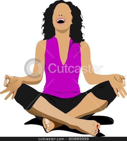 Yoga pose - vector poster stock vector clipart, Yoga pose - vector poster by Leonid Dorfman