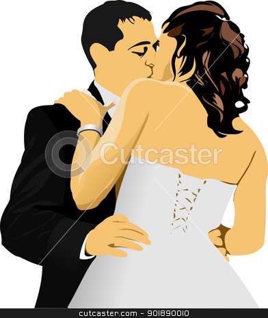 Kissing Couple. Bride and Groom. vector illustration stock vector clipart, Kissing Couple. Bride and Groom. vector illustration by Leonid Dorfman