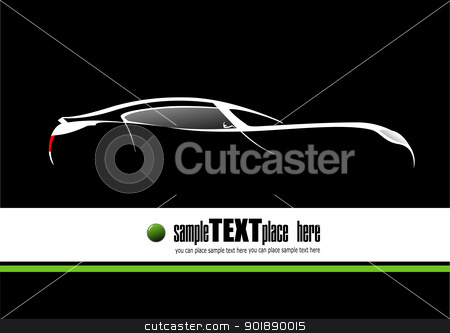 White silhouette of car on black background. Vector illustration stock vector clipart, White silhouette of car on black background. Vector illustration by Leonid Dorfman