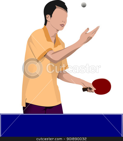 Ping pong player vector silhouette stock vector clipart, Ping pong player vector silhouette by Leonid Dorfman