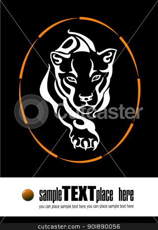 The tiger leaping through a ring of fire silhouette stock vector clipart, The tiger leaping through a ring of fire silhouette by Leonid Dorfman