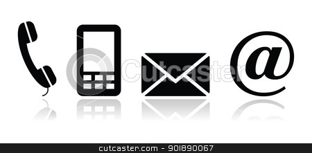 Contact black icons set - mobile, phone, email, envelope stock vector clipart, Glossy clean icons for Contact Us page by Agnieszka Murphy