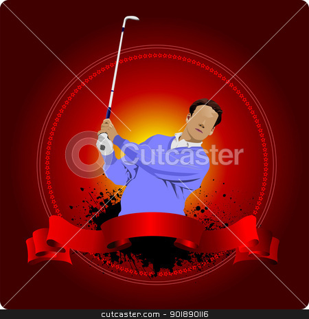 Golfer hitting ball with iron club. Vector illustration stock vector clipart, Golfer hitting ball with iron club. Vector illustration by Leonid Dorfman