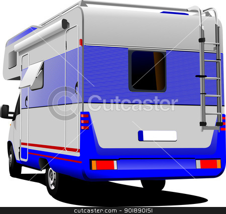 Isolated camper van on white background stock vector clipart, Isolated camper van on white background by Leonid Dorfman