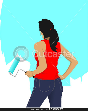 Woman paints the wall brush. Vector illustration stock vector clipart, Woman paints the wall brush. Vector illustration by Leonid Dorfman