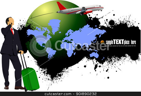 Grunge blot banner with earth image. Vector illustration stock vector clipart, Grunge blot banner with earth image. Vector illustration by Leonid Dorfman