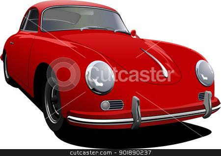Red car sedan on the road. Vector illustration stock vector clipart, Red car sedan on the road. Vector illustration by Leonid Dorfman