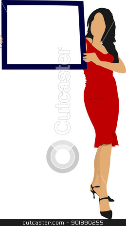 Young woman with note board. Colored Vector illustration stock vector clipart, Young woman with note board. Colored Vector illustration by Leonid Dorfman
