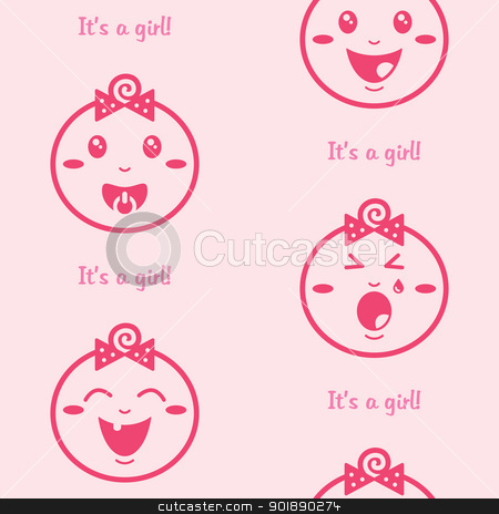 It's a girl pink seamless background with baby girls stock vector clipart, Cute baby girl pattern, wallpaper by Agnieszka Murphy