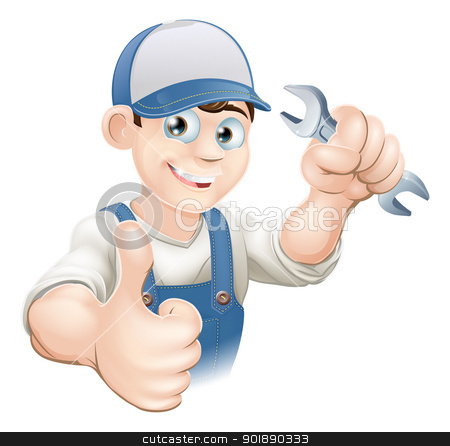 Thumbs up plumber or mechanic stock vector clipart, Illustration of a happy plumber, mechanic or handyman in work clothes holding a spanner and giving thumbs up by Christos Georghiou