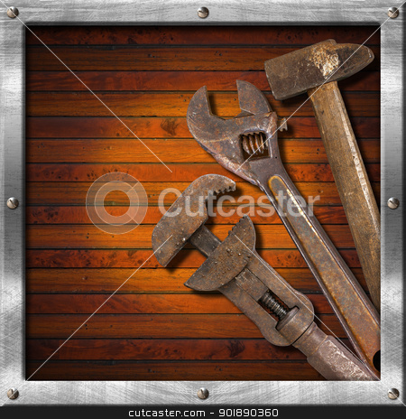 Set of Old Tools on Wood Panel stock photo, Wood and metal vintage background with old tools and space for text   by catalby