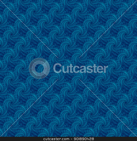 Blue Seamless Contrail Spiral stock photo, Digital abstract image with a tiled blue seamless contrail spiral design. by Colin Forrest