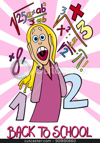 Girl Frightened of Coming Back to School stock vector clipart, Cartoon Humorous Illustration of Teenage Girl Student Frightened of Coming Back to School and Difficult Math Tasks by Igor Zakowski