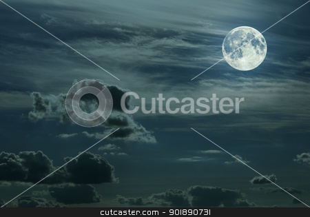 Fullmoon stock photo, Sky with full moon, cumulus and cirrus clouds by Onyshchenko Viktor
