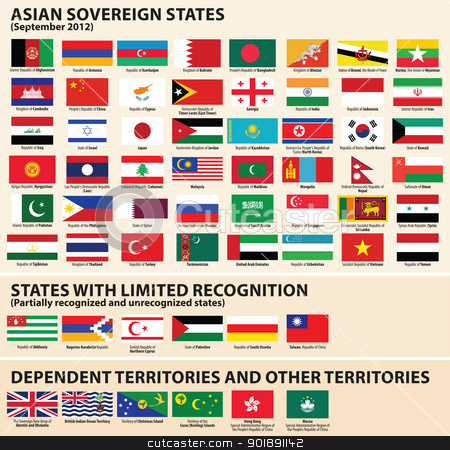 Flags of Asian States stock vector clipart, Vector set of Flags of Asian sovereign states (September 2012) Including Abkhazia, Nagorno-Karabakh, NorthernCyprus, Palestine, South Ossetia, Taiwan… by Ints Vikmanis
