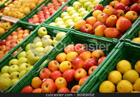 Apples on a marker stall stock photo, Apples on a marker stall by photography33