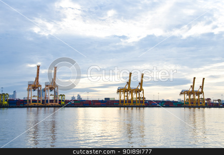 Crane bridge for logistic  stock photo, Container Cargo freight ship with working crane bridge for Logistic Import Export. by chatchai