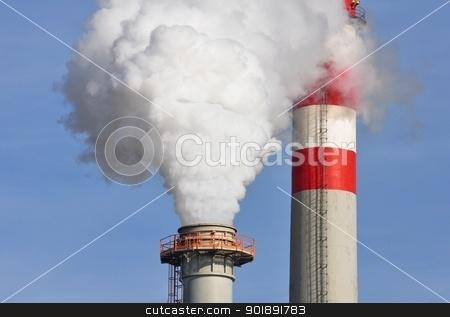 Chimneys stock photo, The chimneys and the steam or smoke by Ondrej Vladyka