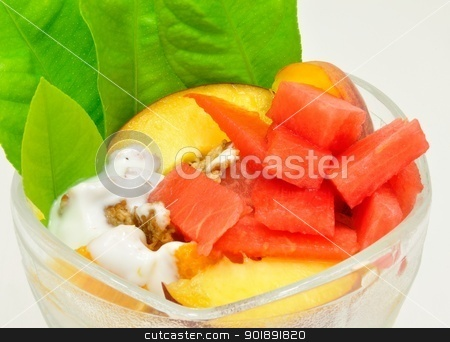 Fruit cup stock photo, Fruit cup with watermelon, peaches, musli and green leaves by Ondrej Vladyka