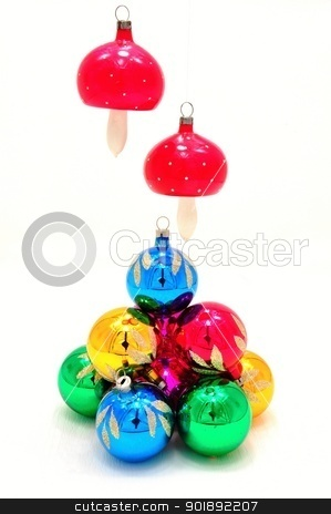 Christmas decorations stock photo, Very bright colored Christmas ornaments with reflections by Ondrej Vladyka