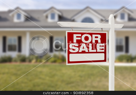 Red For Sale Real Estate Sign and New Home stock photo, For Sale Real Estate Sign in Front of Beautiful New Home. by Andy Dean