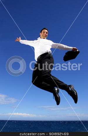 Businessman jumping high into the sky stock photo, Businessman jumping high into the sky by photography33